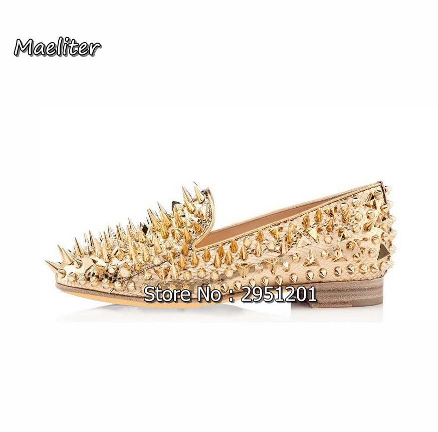 Choudory Customized Men flats shoes Luxury Shinny Glitter Gold Silver Red Spikes Shoes Slip On Loafers Rivets Men Casual Shoes men loafers top quality red bottom men shoes fashion dandelion spikes men loafers rivets casual dress shoes men flats black