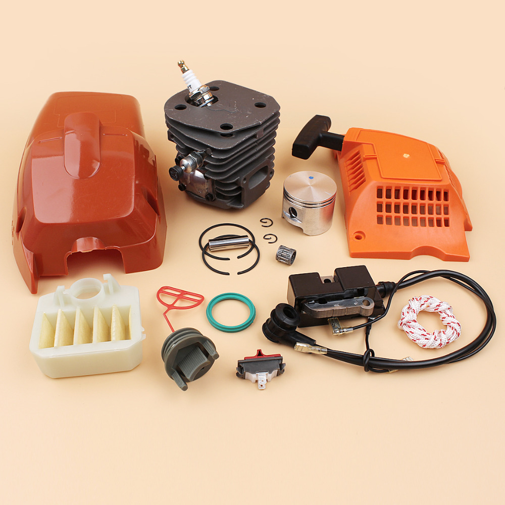45mm Top Cover Cylinder Piston Ignition Coil Air Filter Starter Kit Fit Husqvarna 350 340 345 346 346XP Chainsaw Motor Parts