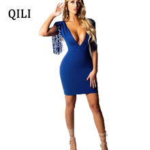 QILI Sexy Deep V-neck Women Dress Elegant Sequin Tassel Sleeve Rear Zipper Blue Mini Dresses Party Club Bodycon Female