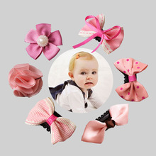 цены 5PCS Original Baby Girls Bow Flower Small Barrettes Newborn Cute Hairpins Headwear Kids Hair Clips Headband Hair Accessories