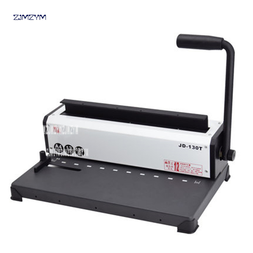 JD-130T Ten-hole Clamp Binding Punching Machine Contract Tender File Punching 10-hole Binding Machine A4 Wire Binding machine 1pc brand new and high quality paper cutting punch combination punching hole pattern in three file binding machine