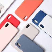 Solid Color Liquid Silicone Phone Case For iphone 7 plus 8 6 Plus xr XS Max X Candy TPU Soft Shockproof Cover Coque