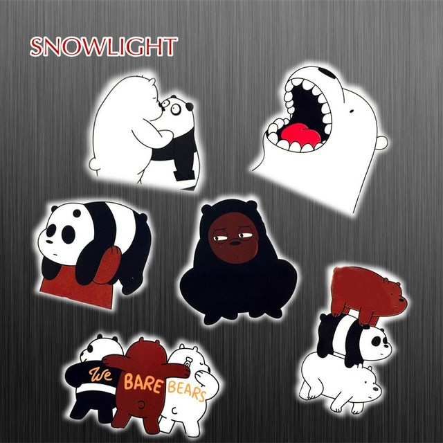 6pcs/lot Cartoon Cute White Bear Stickers For Suitcase Skateboard Laptop Toys Flash Graffiti Decals Sticker For kids