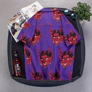Image 3 - היפ הופ streetwear חולצות גברים שטן מלא הדפסה קצר שרוול קיץ פרחוני ראפר harajuku loose הוואי קוריאני חולצות camisa