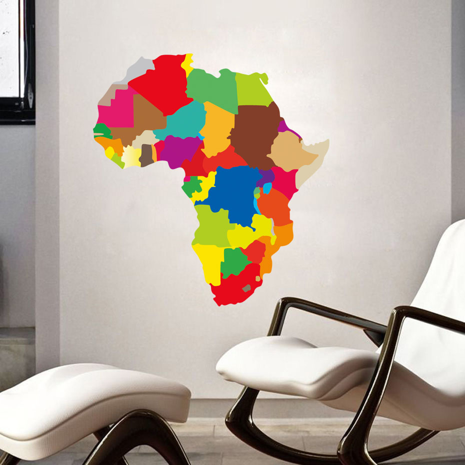 Diy Colorful Rooms: 3D Colorful Africa Map Wall Stickers Living Room Home