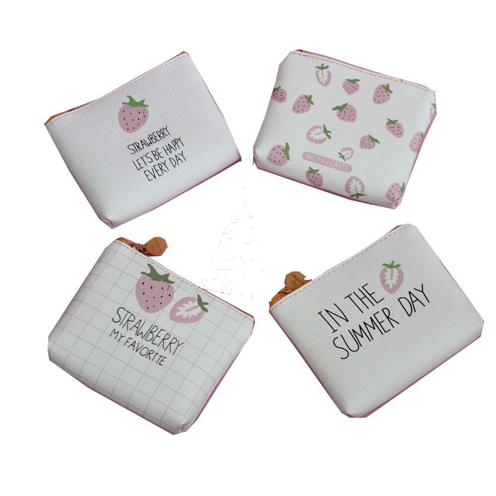 M005 2017 New Creative Women Purses Cute Cartoon Little Strawberry Small Fresh Bag Headset Line Coin Purse Card Bag