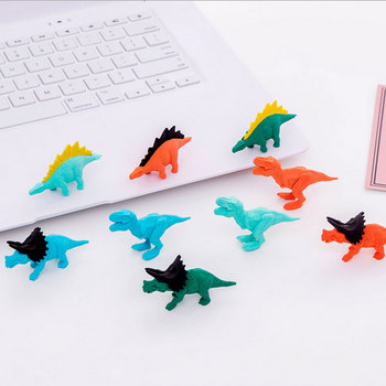 3pcs/lot Creative dinosaur Rubber Eraser Art School Supplies Office Stationery Novelty Pencil correction supplies kawaii cartoon hello kitty donut pencil eraser office school correct supplies child writing drawing correction rubber gift