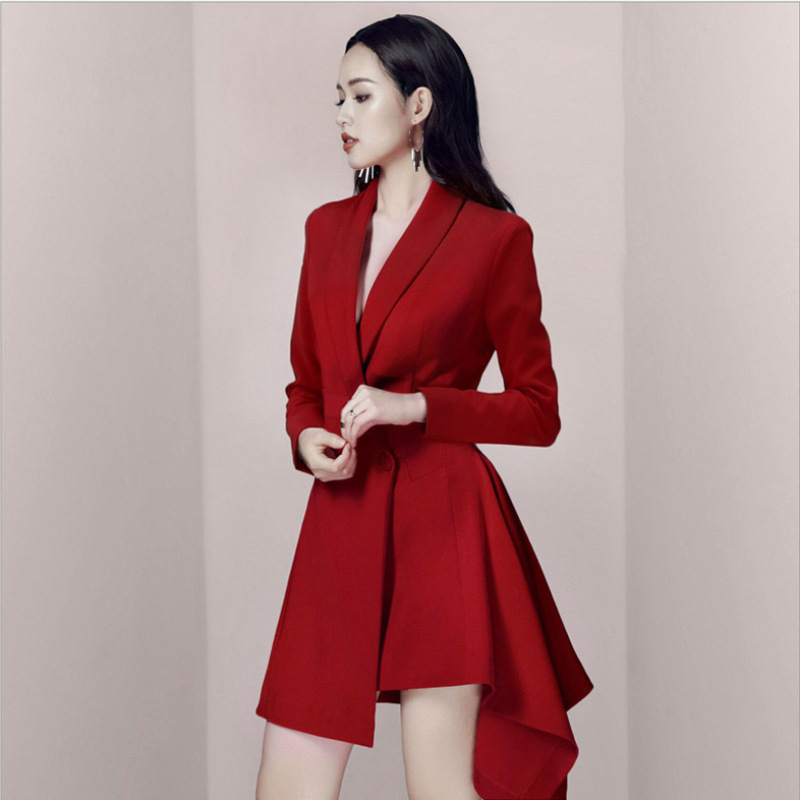 9e3a1921a522 2019 Spring Wine Red Blazer Dress Feminino Long Coat Elegant Double  Breasted Outerwear Ukraine OL Women Jacket Blazers QH008-in Blazers from  Women's ...