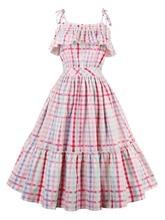 Sisjuly Women Summer Multi-Color Dress Girls A-Line Sleeveless Spaghetti Strapless Dresses Knee-Length Vintage Style Girls Dress