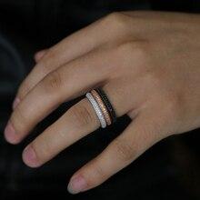 Новое простое кольцо стерлингового серебра 925 пробы женские мужские обручальные ювелирные изделия Полный Круглый Цирконий трени сверкающие украшения для пальцев