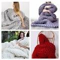 Newest Wonderful Hand Chunky Knitted Adult Blanket Spring/Autumn Sofa Blanket Thick Yarn Merino Wool Bulky Knitting Throw#228117
