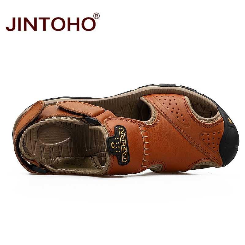 JINTOHO Mens di Estate Sandali Moda Maschile Sandali di Cuoio Genuino Degli Uomini Sandali di Cuoio Della Spiaggia di Estate Scarpe di Cuoio