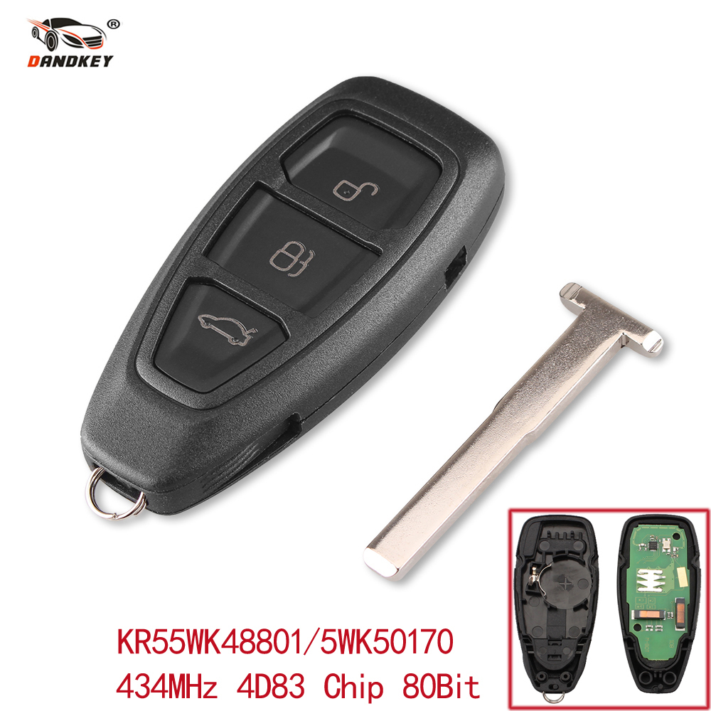 Dandkey 3 Buttons Smart Remote Key Fob 434MHz With ID83 Chip For Ford Focus Fiesta Kuga 2011 2012 2013 2014 2015 KR55WK48801 все цены