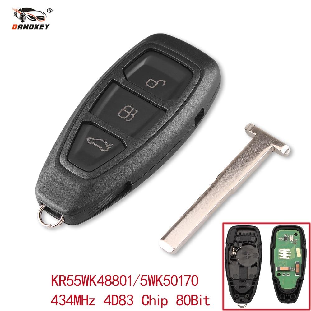 Dandkey 3 Buttons Smart Remote Key Fob 434MHz With ID83 Chip For Ford Focus Fiesta Kuga 2011 2012 2013 2014 2015 KR55WK48801 led 2012 2015 kuga day light kuga fog light kuga headlight transit explorer topaz edge taurus fusion kuga taillight