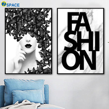 Marble Fashion Girl Butterfly Posters And Prints Wall Art Canvas Painting Black White Salon Pictures For Living Room Decor