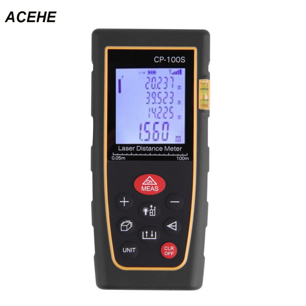 ACEHE Portable Handheld Digital Laser Distance Meter Range Finder Measure Diastimeter Tester Tool Area/Volume M/in/Ft level bubble 70m digital laser distance meter area volume distance tester m ft inch tool pythagoras range finder tape measure
