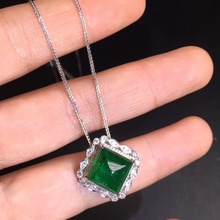 AGL Fine Jewelry Certificate Real 18K White Gold AU750 Natural Green Emerald 5.4ct Gemstones Pendants for Women Necklace