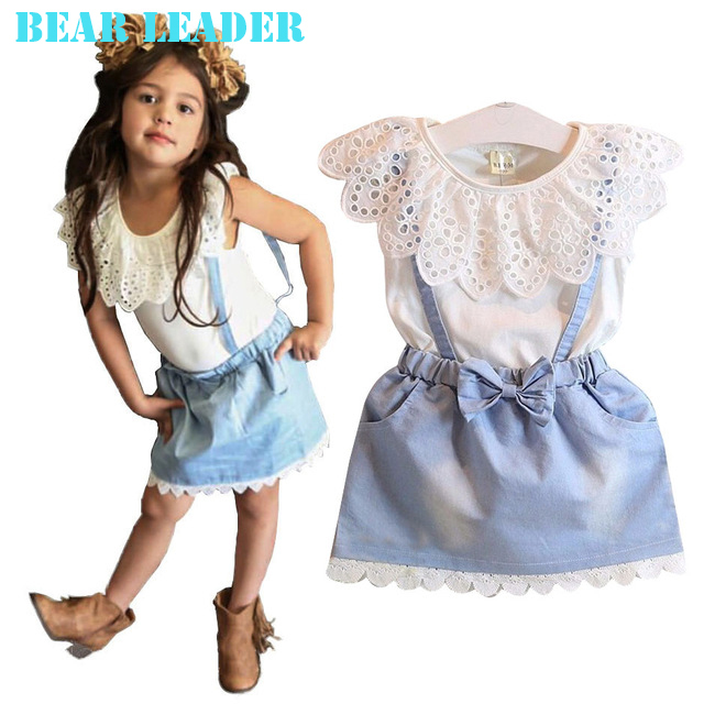 Bear Leader 2016 Новые девушки симпатичные платья, белый принцесса ремень denim платье без рукавов хлопок летнее платье прекрасный новорожденных девочек одежда