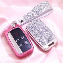 Fashion Luxury Diamond Crystal Shining Car Key Case Cover For Land Rover A9 Range Sport Evoque Freelander 2 Auto KeyShell