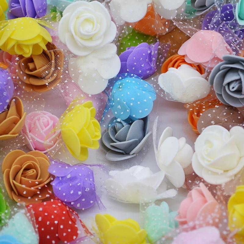 50pcs 3.5cm Multicolor PE Foam Rose Artificial Silk Flower Head For Home Decorative Wreath Wedding Party DIY Crafts Decoration