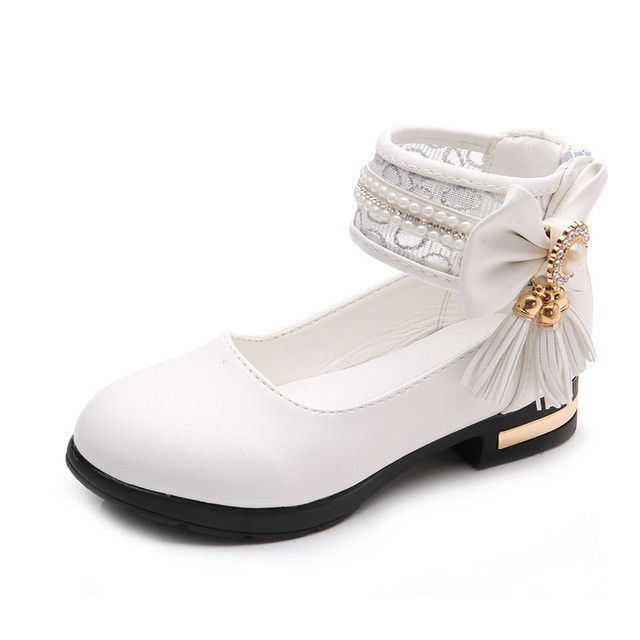 Girls Leather Dress Shoes for Kids Princess Shoes Pu Leather Sandals Fashion Bow Tassel Children Black School Low Heels Shoes