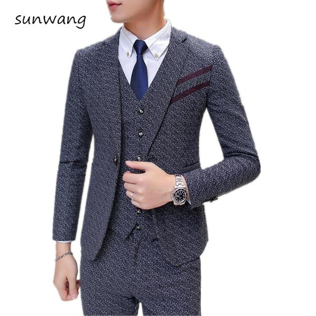 Aliexpress.com : Buy 2017 Korean Grey Tuxedo Men's Wedding Suits ...