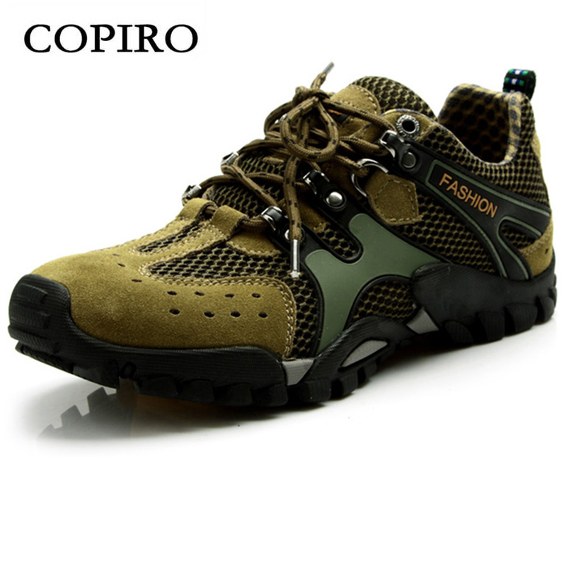 COPIRO Spring Summer Breathable Men Hiking Shoes Outdoor Climbing Non - Slip Mesh Trekking Sports Sneakers Large Size 39-46 camo breathable water resistant lace up high top mesh outdoor sports trekking hiking shoes men camping travel climbing sneakers