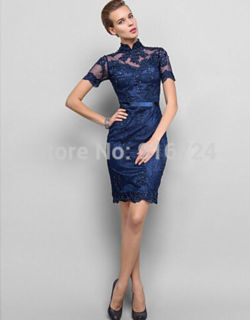 High Neck Knee-length Short Sleeves  Straight  Lace Cocktail Dress Party Dress  Custom made