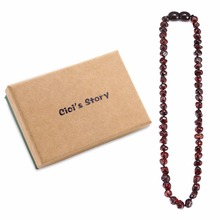 Baltic Amber Teething Necklace for Baby (Unisex)(Cherry)-Natural Stone Diy Beads Necklace-Baby Gift Sets amber teething necklace for baby multicolor 3 sizes natural stone diy beads necklace baby accessories lab tested