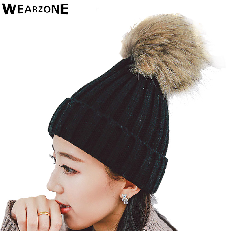 Faux Racoon Fur Pom Fox Fur Poms Knitted Hat Ball Beanies Winter Hat For Women Girl 'S Wool Hat Cotton Skullies Thick Female Cap fetsbuy mink fur ball cap gray pom poms winter hat for women girl s wool hat knitted cotton beanies cap brand thick female cap