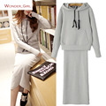 2016 New Arrival Women's Autumn Clothes Cotton Hooded Pullover Sweatshirt And Elastic Skirts Set Female Casual Suits S-L