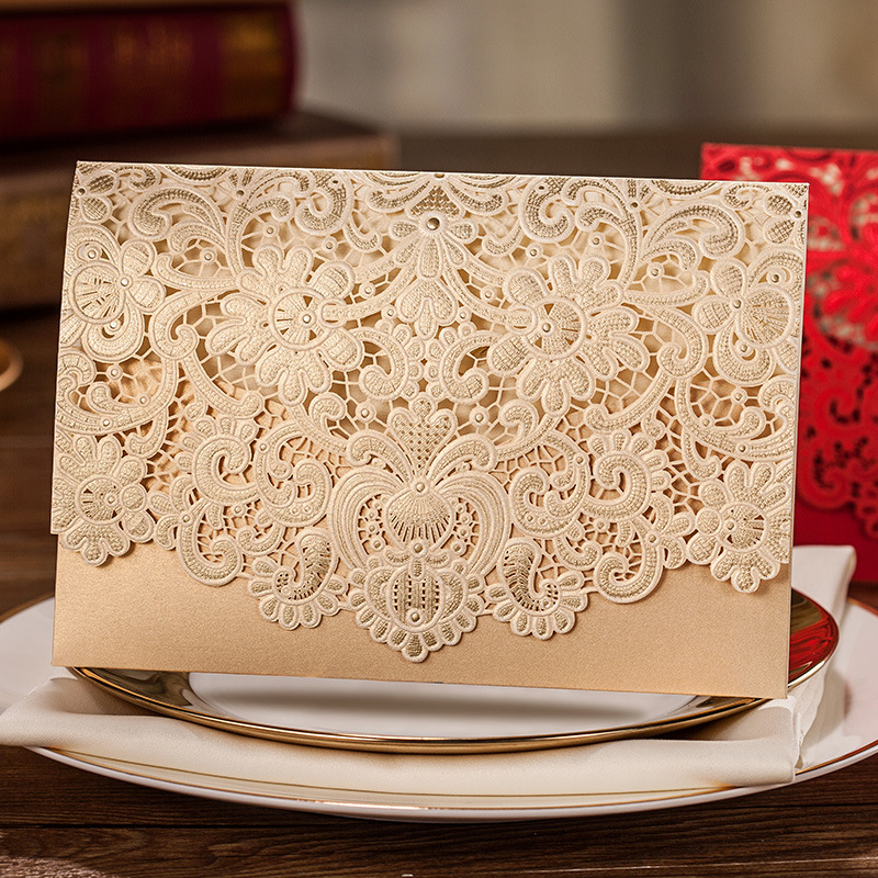 50Pcs Weding Invitation Card With Envelope Beige White Red Color Paper Engagement Party Invitations With Custom Printing