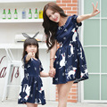 2016 Summer Family Matching Outfits Mother and Daughter Dress Mommy and Me Clothes Family Clothing cartoon cat O-neck Dress