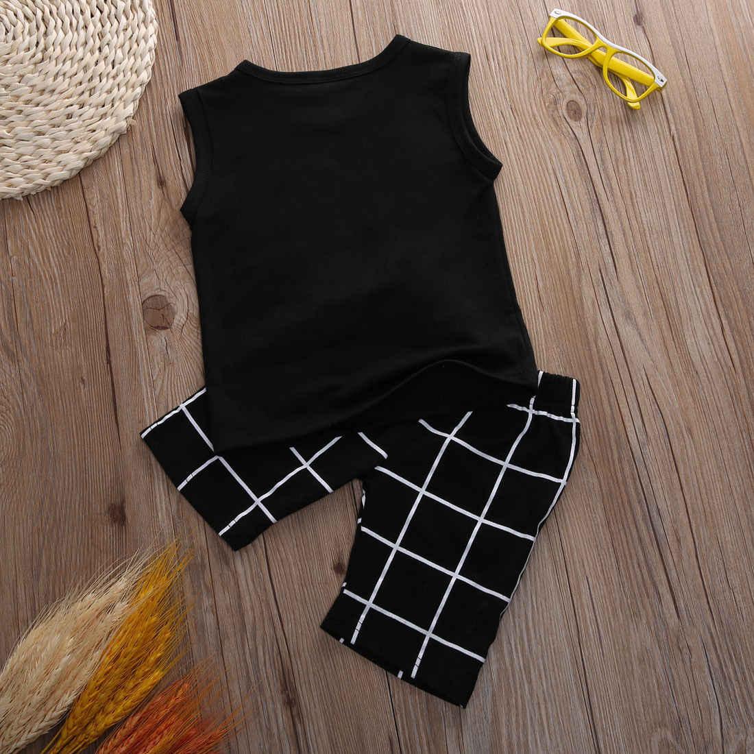 2 piezas niño recién nacido niños bebé sin mangas ropa Casual camiseta Tops pantalones conjuntos