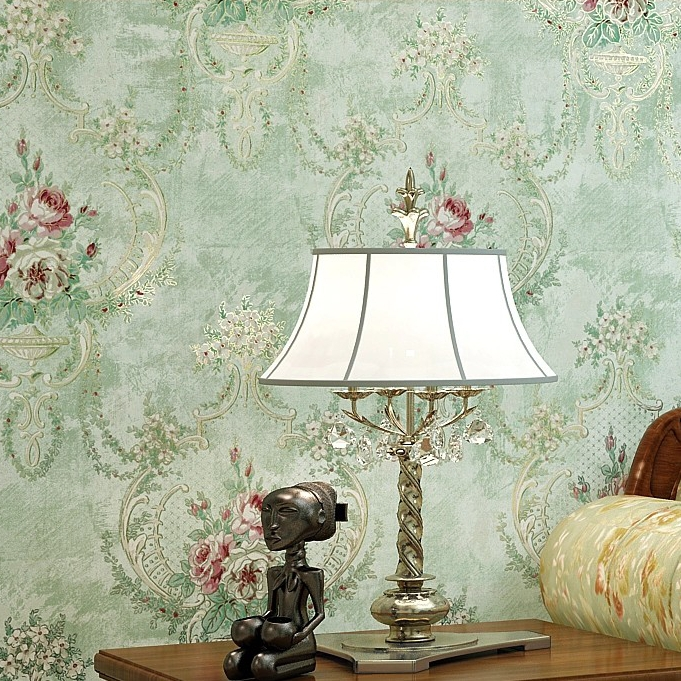 American country pastoral printing bedroom living room TV backdrop wallpaper non-woven rattan flower wallpaper wall vintage american country leaf branch flower pastoral non woven wallpaper bedroom living room 3d stereoscopic background wallpaper mural