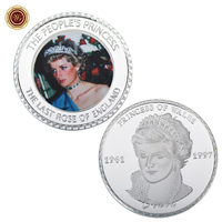 WR Customized the Last Rose of England Silver Plated Coin Commemorative Colored Metal Diana Challenge Coin with Plastic Case