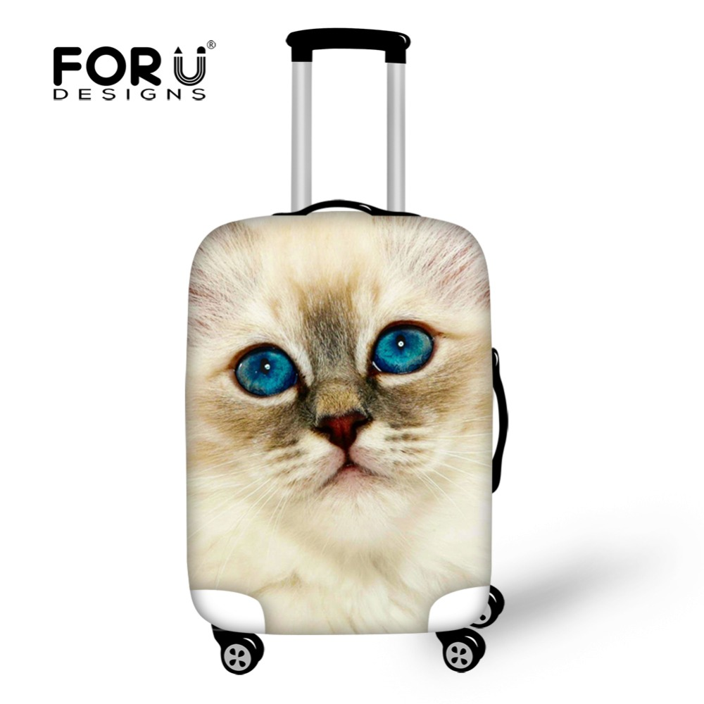 FORUDESIGNS Travel Accessories Cute Cat Women Travel Luggage Cover Protector Thick Rain Cover Suitcase Cover For 18-30inch Case