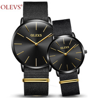 Olevsブランド腕時計メンズスポーツ腕時計ファッションナイロンカップル腕時計防水クォーツ恋人の時計用夫と妻腕時計