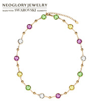 Neoglory MADE WITH SWAROVSKI ELEMENTS Crystal Long Charm Necklace Classic Colorful Round Beads Exquisite Two Uses