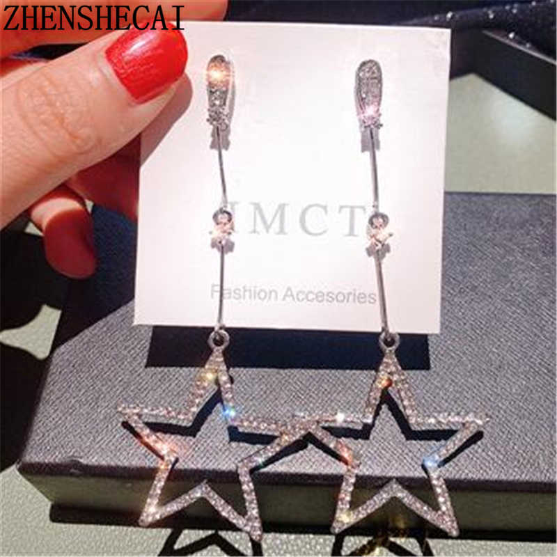2019 Gaya Baru Bling Crystal Brincos Hollow Star Rumbai Drop Anting-Anting Panjang untuk Wanita Indah Berlian Imitasi Fashion Perhiasan Hadiah