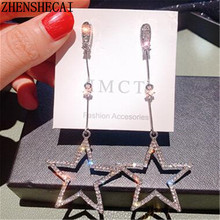2019 New style Bling Crystal Brincos Hollow Star tassel drop long earrings for women exquisite rhinestone fashion jewelry Gift(China)