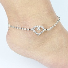 1pcs 2016 Fashion Hot Sell Bright Crystal Hollow Out Heart Anklet For Women Foot Jewelry Wholesale 8933