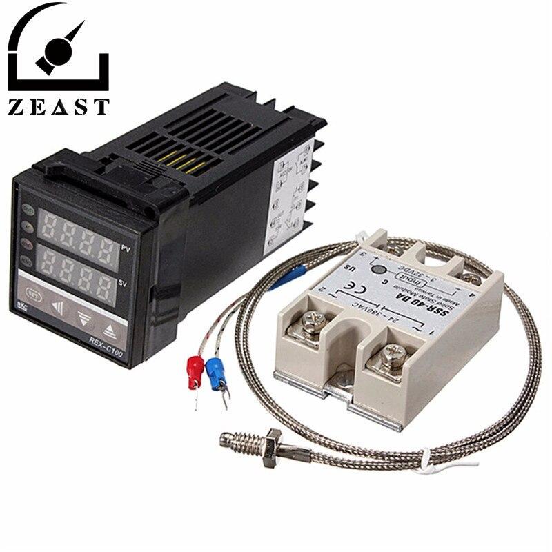 Marke Neue Digitale 110-240 V PID REX-C100 Temperaturregler + 40A SSR + K Thermoelement