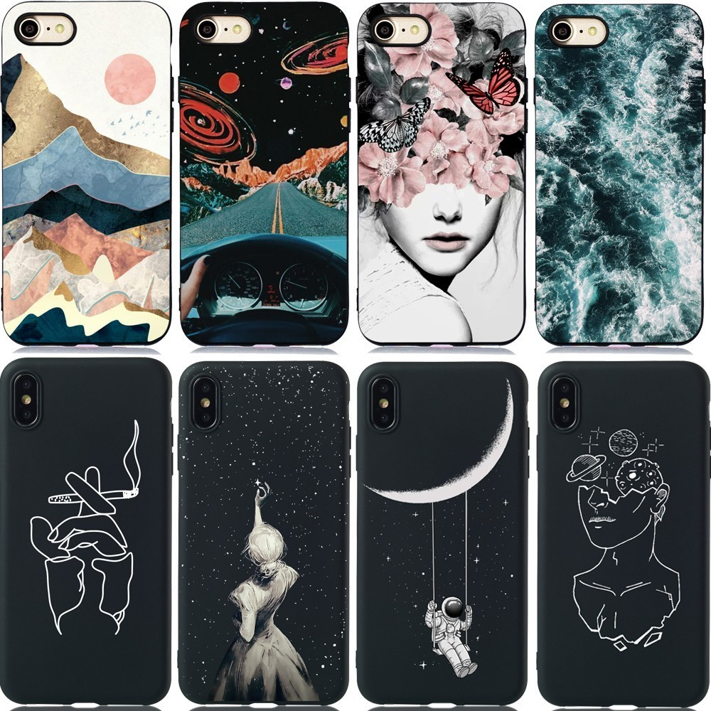Silicone Couple Case For Huawei P20 P30 Mate 10 20 Lite Pro P Smart Plus Y5 Y6 Y7 2019 Art Pattern Flower Girl Phone Back Cover