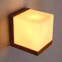 Minilism Country Wall Lamps Solid Wood Frosted Glass Shade Wall Lights Livingroom Bedroom Bedside Corridor Murale Wall Sconce