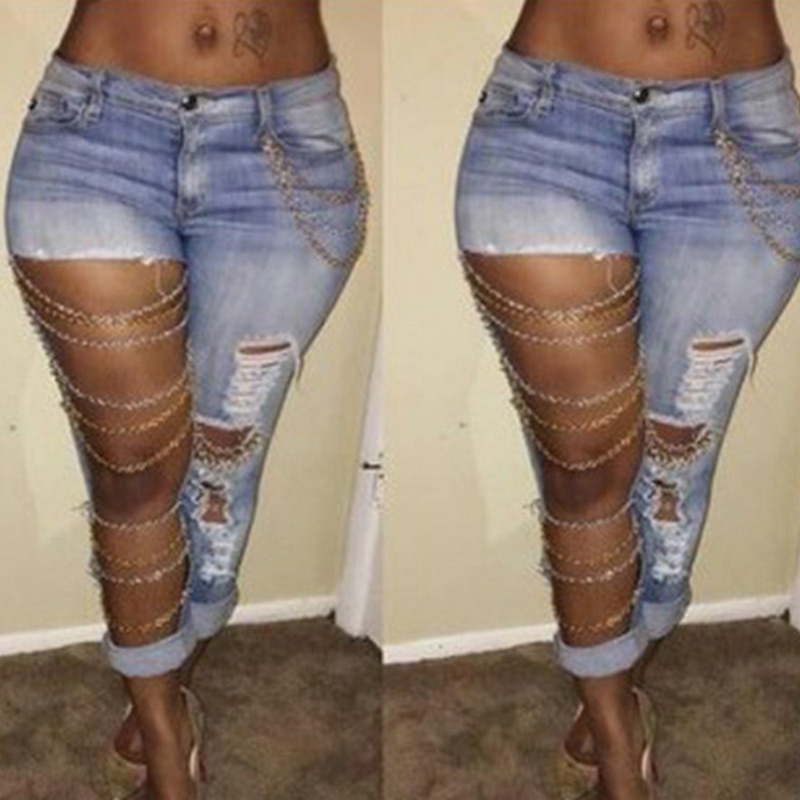 Fashion Women Ripped Jeans Pants Cool Denim Big Hole&Chains Vintage Pencil Pants Mid Waist Trousers -MX8 2017 fashion women jeans retro style floral embroidery ripped hole denim pencil pants vintage mid waist ankle length trousers
