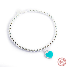 Pendant Bracelet Jewelry Charm Heart-Shaped 925-Sterling-Silver Fashion Women Brand