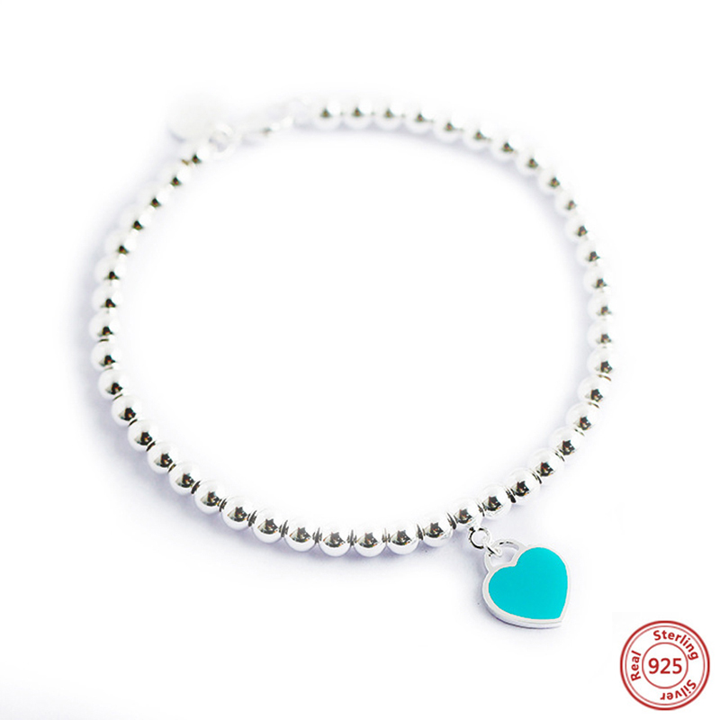 Sterling Silver Charm Bracelet Attached Mini Cut Out Heart Simulated Blue Turquoise Chips Inlay Char
