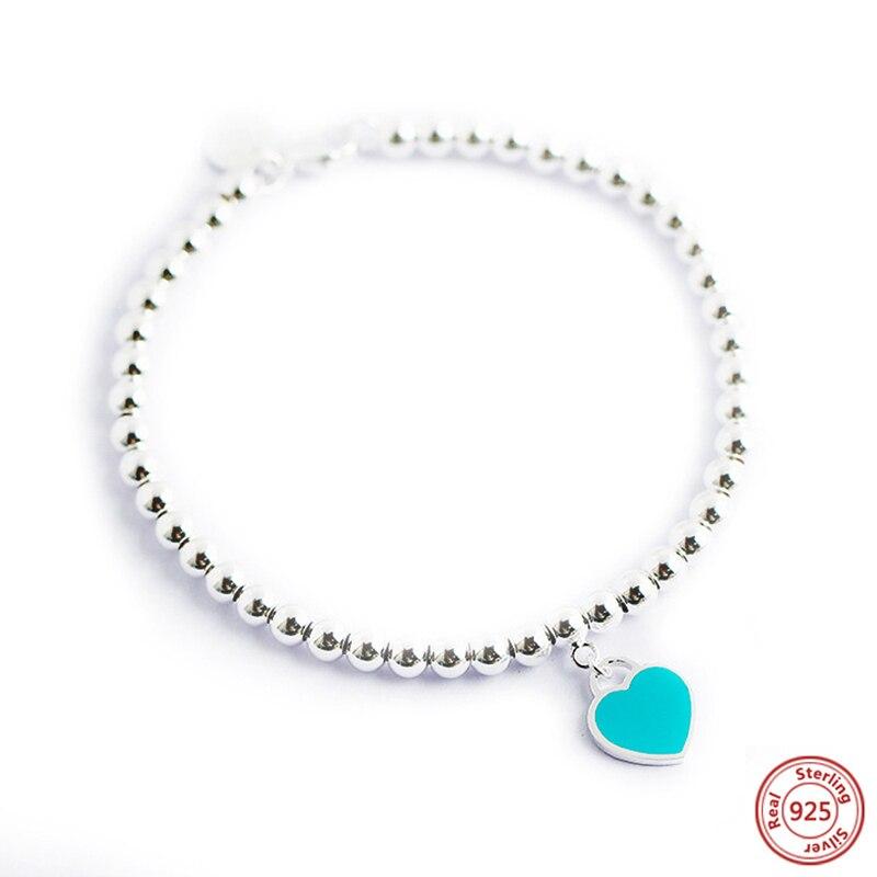 Mode coeur en forme de 925 en argent Sterling pendentif Bracelet bijoux charme marque Bracelet conception pour les femmes bijoux fins