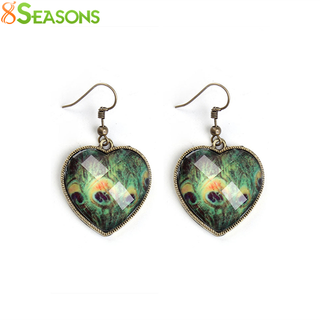 8seasons earrings antique bronze green heart peacock feather faceted 8seasons earrings antique bronze green heart peacock feather faceted 47mmx 27mm post wire size greentooth Images